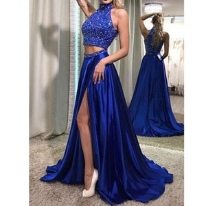 Satin Halter Royal Blue Piano Lunghezza Due pezzi Abiti da sera Ball Gown Abito da notte abiye uzun tarz elbiseler