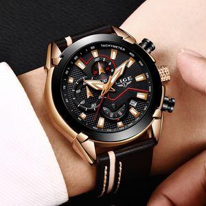 2018 LIGE تصميم الأزياء والساعات رجال جلدية الرياضة تاريخ كرونوغراف كوارتز ساعة للرجال هدية ساعة relogio masculino