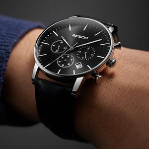 Aesop new black sport watch homens relógio de pulso de quartzo pulseira de couro relógio masculino relógio de pulso à prova d 'água à prova d' água relogio masculino hodinky 43 1005g