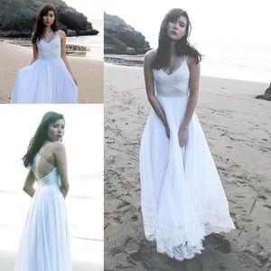 Spaghetti Beach Wedding Dresses 2018 Modest Lace Chiffon Hollow Back Flowy Skirt Simple Summer Holiday Seaside Bohemian Wedding Gown