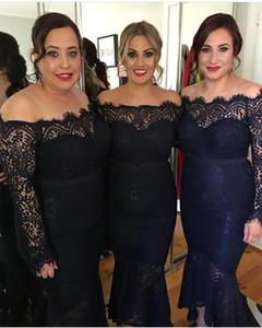 2020 Navy Blue Mermaid платье невесты Arabic плечи полного шнурок с длинными рукавами Высоких Низких Поясов Плюс Размер фрейлина платье Gowns
