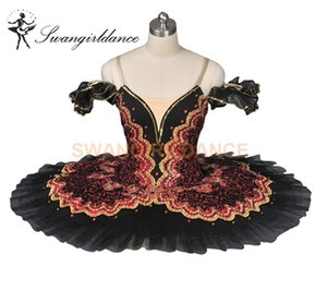 Spagnolo bordeaux nero pancake tutu donne professionale balletto tutu fase costume piatto bambini ragazze BT8941C