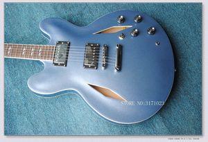 HOT SALE 커스텀 Dave Grohl 시그니처 메탈릭 블루 재즈 할로우 바디 일렉트릭 기타