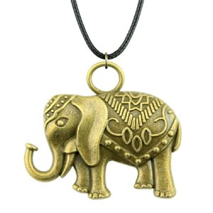 WYSIWYG 5 Pieces Leather Chain Necklaces Pendants Choker Collar Women Necklace Jewelry Double Sided Elephant 28x31mm N6-A12324