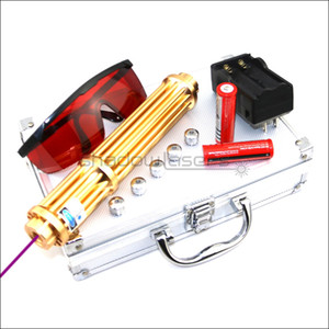 Shadowlasers Gold VX3-II ad alta potenza 405nm puntatore laser viola blu viola torcia laser Lazer caccia con torcia elettrica con batterie 2 * 18650 Li