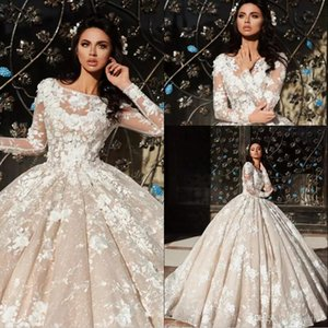 Gorgeous Long Sleeve Church Ball Gowns Wedding Dresses 2018 New Sheer Jewel Neck with 3D-Floral Flowers Lace Appliques Bridal Gowns Custom