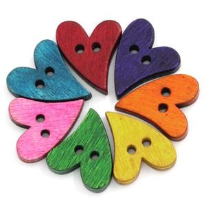 100 PCs Botões De Madeira Botões Decorativos Para Crianças DIY Scrapbooking Artesanato Acessórios De Costura Mista 2 Furos 21x17mm