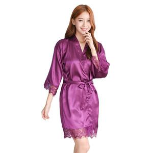 Lisacmvpnel Новый Узор Имитация Шелка 1 Шт. Халат Кружева Сексуальные Женщины Пижамы Мода Мебель Для Дома Пижамы