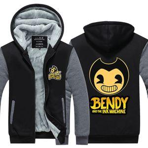 Yeni Oyun Bendy ve Mürekkep Makine Kaşmir Hoodie Up Polyester Kapşonlu Süper Sıcak Polar Sweatshirt Ceket Coat Uzun Kol eşofman Zip