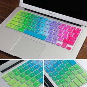 Yumuşak Silikon Gökkuşağı klavye Kılıf Koruyucu Kapak Cilt Için MacBook Pro Hava Retina 11 13 15 inç Su Geçirmez Toz Geçirmez perakende kutusu ABD Ver