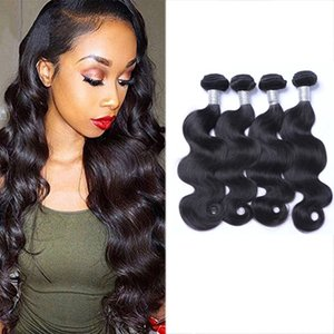 8A Quality Brazilian Body Weave Unprocessed Human Hair Extensions 8-30inch Natural Black Color Thick Full Dyeable 4pcs lot Free Shipping DHL