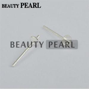 100 pares venta al por mayor de plata de ley 925 perla bricolaje perno de montaje pendiente del poste con la tapa de la copa de 3 mm o 4 mm