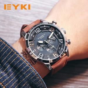 남자를위한 EYKI 패션 레이싱 스포츠 시계 세 눈 다기능 입체 다이얼 빛나는 톱 브랜드 남자 석영 시계 Y1892111