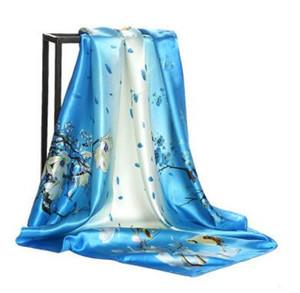 최신 여성 Satins 실크 스카프 빈티지 스퀘어 헤드 Scarfs 레이디의 유로 패션 인쇄 실크 새틴 Hijab 목도리 꽃 스카프 90cm * 90cm