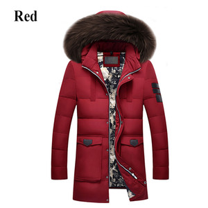 Men  Winter Jacket Men High Quality Men's Long Down Coat Fashion Big Hair Collar Thicker Warmth Hooded Leisure Park Jacket