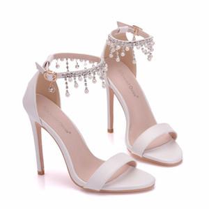 Neue Sommerkristall offene Zehe Schuhe für Frauen super High Heels Mode Perlen Stiletto Ferse Hochzeit Schuhe Knöchel Streifen Bridal Sandalen