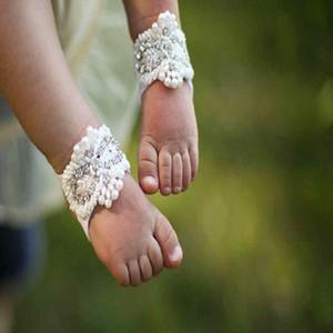 Recién nacido Lindo Dulce DIY Hecho A Mano Bordeado con Diamantes Infantil Barefoot Pearl Shoes Niños Niñas Accesorios de Fotografía Perlas Sandalias de Niño