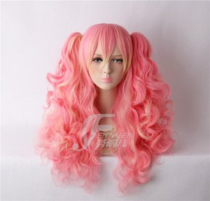 Mujeres Gothic Lolita Pink gradient 2 Ponytails Long Wavy Curly Cosplay Peluca completa