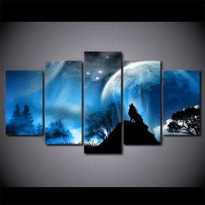 5 قطعة قماش جدار الفن HD مطبوعات اللوحة الإطار ليلة وولف كوكب المناظر الطبيعية المشارك لغرفة المعيشة صور ديكور المنزل