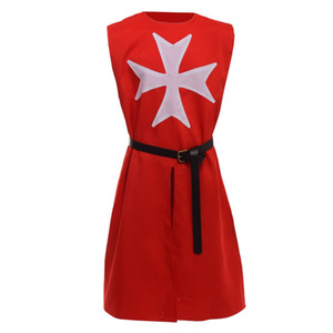 Хэллоуин косплей костюм старинные унисекс средневековый плащ черные рыцари госпитальер воин Крестоносец крест ларп туника Мыс