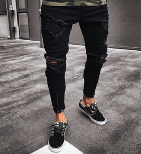 Black Pants for Men Hip Hop Rock Holes Ripped Jeans Biker Slim Fit Zipper Jean Distressed Pants