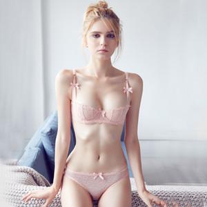 Nuevo 2016 Sexy encaje transparente sin forro media copa sujetadores para mujeres ropa interior conjunto grande tamaño Floral A B C D copa sujetador conjunto de bragas