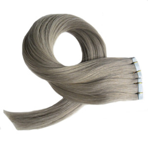 "Gray hair extensions 100% Human Hair Remy Tape In Hair Extensions 12"" 14"" 16"" 18"" 20"" 22"" 24"" 26"" 100g 40pcs Set tape extensions grey"