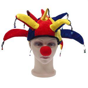 Funny Multicolor Halloween Chapeaux Et Casquettes Jester Clown Mardi Gras Parti Costume Chapeau Costume Adulte Costumes