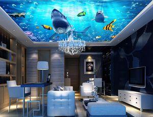 사용자 정의 3D 천장 사진 벽화 돌고래 상어 3 d 벽지 벽 거실 침실 3d 천장 현대 벽지
