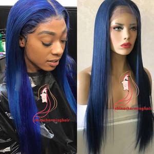 perucas longas da parte dianteira azul do laço do cabelo reto longo humano perucas completas retas do laço do laço brasileiro com cabelo do bebê para venda