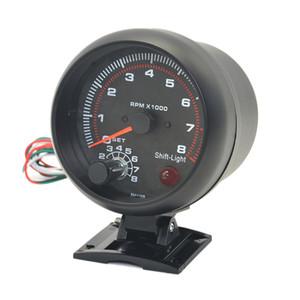 드래곤 게이지 3.75 인치 (95mm) 자동 자동차 화이트 블랙 라이트 타코미터 게이지 0-8000 rpm 4.6.8 실린더 경고 기능