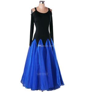 Balo Salonu Dans Yarışması Elbiseler Flapper Vals Flamenko Elbiseler Büyük Sheer Hem Şerit Omuz ile 3 Renkler D0414
