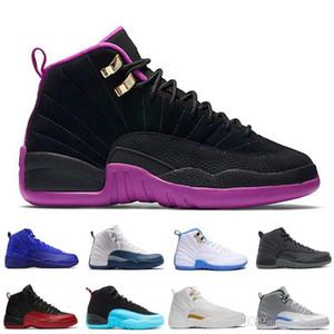 [Com caixa] Mens tênis de basquete XII 12 homens mulheres 12 gripe jogo francês azul o mestre ginásio Red Taxi Playoffs Sapatos Esporte Sapato 5.5-13
