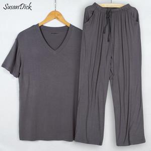 SusanDick 2018 Estate Autunno Mens Pigiama Set manica corta Casual T-Shirt Pantaloni di sonno Due pezzi Set Uomo Modale Home Clothes 4XL