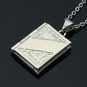 Colar de coração colar de pingente aberto Locket Photo Frame Necklace oco Out prata banhado Retângulo Shell Amor da gota