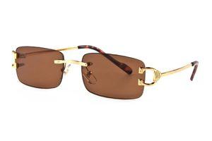Nuevo deporte de la manera 2019 Fashion Square piloto sin montura gafas de sol para mujer para hombre Super Light metal para hombre Gafas de sol con la caja UV400