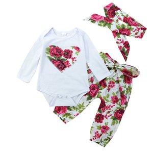 Девочки цветок одежда хлопок бутик одежда для малышей ползунки + брюки + оголовье 3 шт. Красный наряды набор цветочные сердца детские девушки костюм 0-24 м