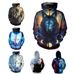 Wolf Hoodies Zipper Sudadera Galaxy Space Wolf 3D Print Hoodie Hombres Mujeres Chaqueta ZIP UP Jerseys Tops Hip Hop Graphic Sweeter Unisex S-5XL