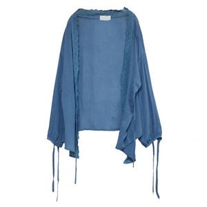 Sisjuly Kadınlar Rahat Ince UV Koruma Sunproof Kimono Hırka Triko Mavi Yaz Dantel Gevşek Dantel-Up Örme Moda Coat