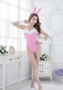 Uniformes de lingerie sexy séduisent fille chat jouer rose tenue de lapin 6 pièces set robe de lapin mignon 6606