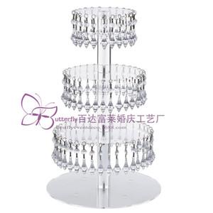 4 Camadas de Acrílico Torre De Cupcake De Vidro Suporte com Pendurado Acrílico Cristal Bead-festa de casamento Bolo Torre / Titular Do Queque /
