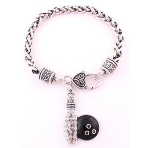الأزياء العتيقة الفضة مطلي سوار سلسلة القمح مع دبوس البولينج والكرة قلادة مجوهرات كريستال سوار