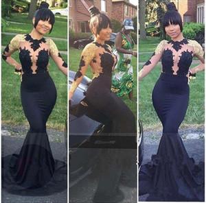 2019 New Sexy African Black y Gold Mermaid Prom Dresses Cuello alto Sexy Open Back manga larga Prom vestidos de noche vestidos de novia