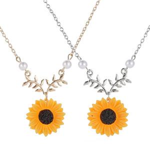 Mode Silber / Gold Farbe SunFlower Blume Daisy Anhänger Kette Halskette für Frauen Hochzeit Schmuck
