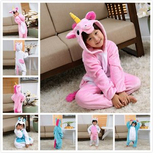 2018 neue Cartoon Magie Einhorn Langarm-Toilette Version Flanell Conjoined Pyjamas Freizeit Home Kleidung Baby Nachtwäsche Kinder Cothes Set