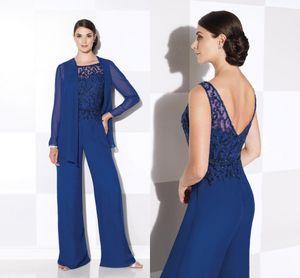 Королевский синий мать невесты брюки костюмы с длинным рукавом куртки две части вечерние платья драгоценный камень шеи блестками свадебный гость Dresse DH1120