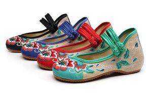 Rnew Vintage Bordado Mulheres Flats Flor Deslizamento Em Tecido De Linho De Algodão Confortável Velho Peking Bailarina Sapatos Baixos Sapato Feminino SIZE5-9.5