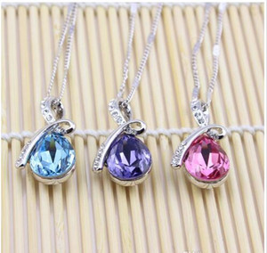2017 Unique design fashion angel tears drop Crystal Drop Necklace Fashion Jewelry free shipping (6 color)