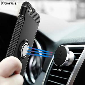 Maoruisi Kılıf iphone 6 s Artı Araba Tutucu Standı Manyetik Emme Braketi Parmak Yüzük TPU + PC Kapak iphone 6 Telefon Kılıfları