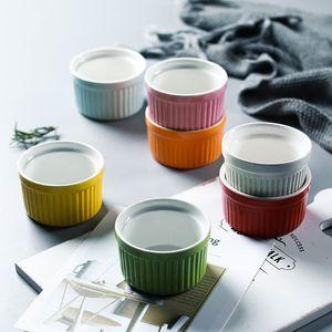 Colorido Cerâmica Souffle Ramekins 5 oz Pudim Bolo Mould Creme Brulee Baking Cup Iogurte Sorvete Tigela Ovenware Ovo Cozido